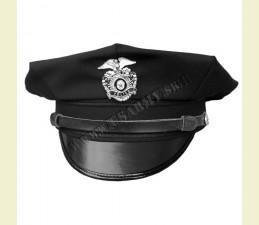 ČIAPKA U.S. POLICE 8-HRANNÁ SO ŠILTOM A ODZNAKOM ČIERNA