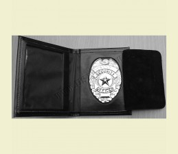 PREUKAZ SECURITY OFFICER KOVOVÝ V PRAVOM KOŽENOM PUZDRE STRIEBORNÝ