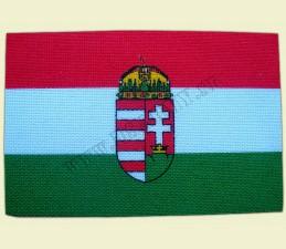 SAMOLEPKA TEXTILNÁ STREDNÁ 8 x11 CM - Maďarsko s erbom