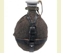 FĽAŠA ČSĽ.POĽNÁ M60 ZÁNOVNÁ 0,75 LTR S KOŽENÝM POPRUHOM - SIVÁ