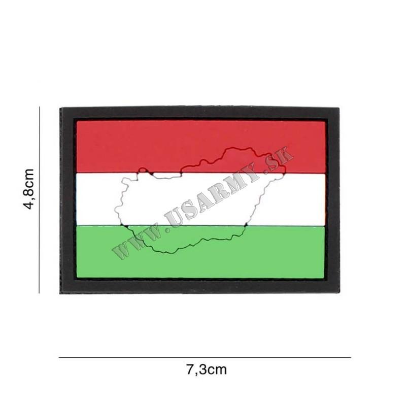NÁŠIVKA 3D HUNGARY SO SUCHÝM ZIPSOM (4,8 x 7,3 cm)