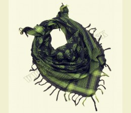 ŠATKA ARAB (SHEMAGH) 110,0 x 110,0 CM ZELENO - ČIERNA SO SMRTKAMI