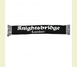 ŠÁL KNIGHTSBRIDGE LONDON S OBOJSTRANNE ŠTRIKOVANÝM LOGOM 145 x 20 CM - ČIERNA S BIELYM LOGOM