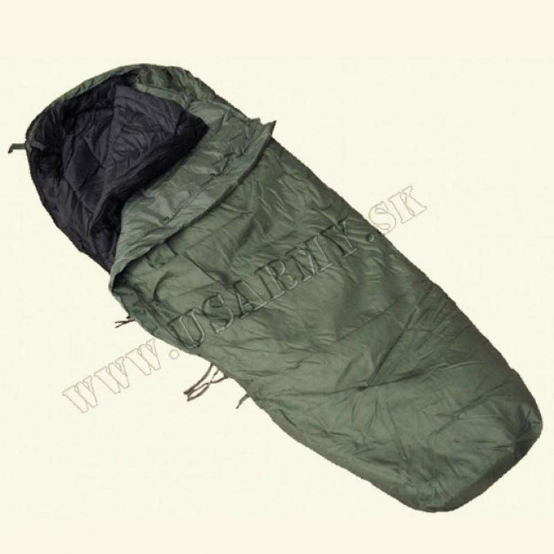 SPACÍ VAK US TYP MODULAR 2-DIELNY MÚMIA S OCHRANOU AŽ DO - 20° C (Vonkajší spací vak: oliv zelená - Vnútorný spací vak: čierna)