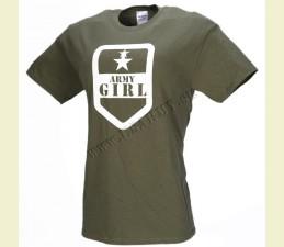 TRIČKO MOTÍV ′ARMY GIRL′ OLIV ZELENÁ