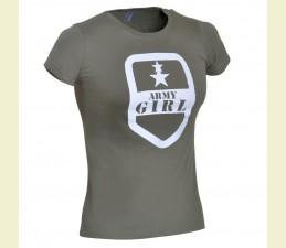 TRIČKO DÁMSKE MOTÍV ′ARMY GIRL′ - MILITARY OLIV
